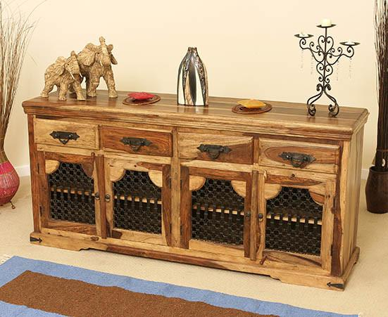 Solid Wood Jali Large Sideboard