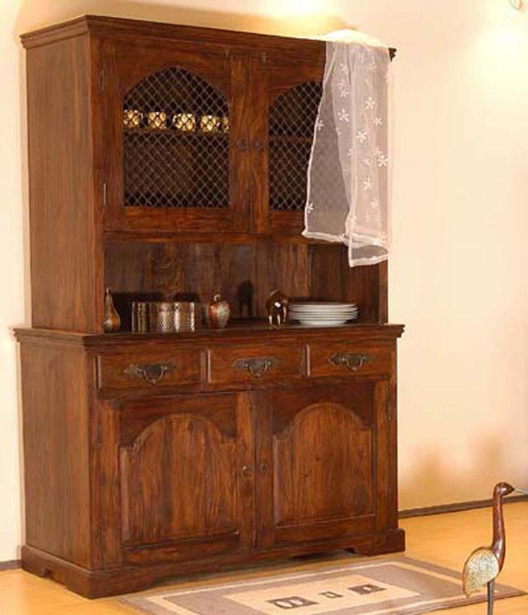 Solid Wood Jali Kitchen Cabinet