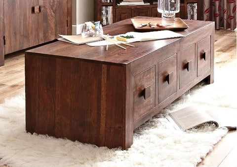 Solid Wood Cube 4 Drawer Coffee Table