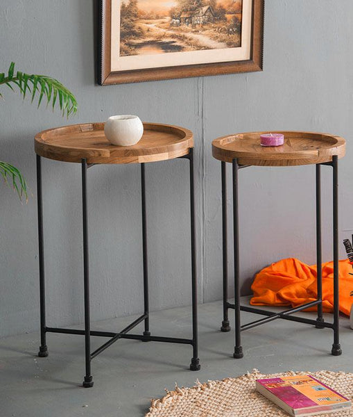 Solid Wood Pedestal Stool Set