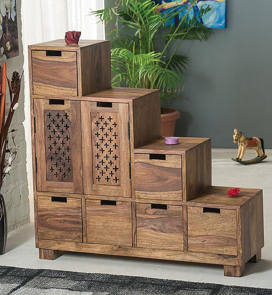 Solid Wood Jali Drawer Step Chest