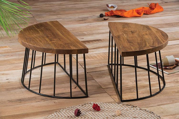 Solid Wood Burrow 2 Part Adjustable Coffee Table