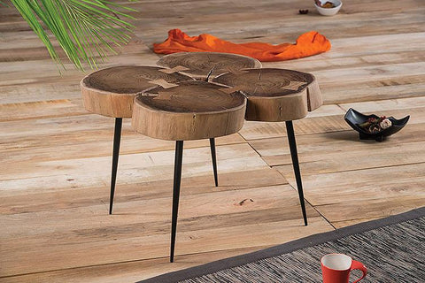 Solid Wood INDIANA Quad Lamp Stool