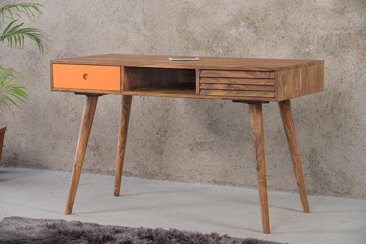 Solid Wood Eva Stripe Study Table with 2 Drawers