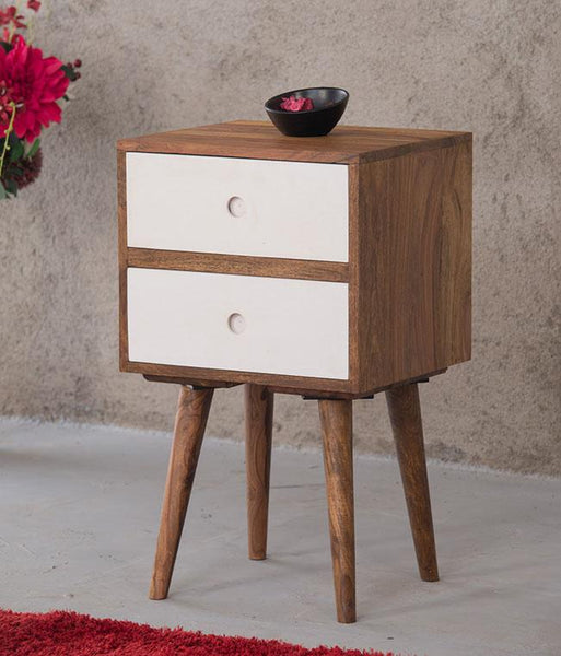 Solid Wood Eva Bedside Table with 2 Drawers