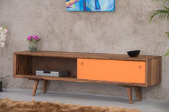 Solid Wood EVA Tv Unit with Sliding Doors