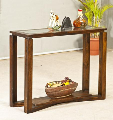 Solid Wood Double Shelf Console Table