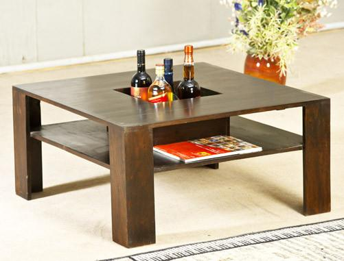 Solid Wood Double Shelf Coffee Table