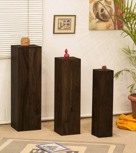 Solid Wood Maverick Candle/Light Stands Set of 3 Pieces