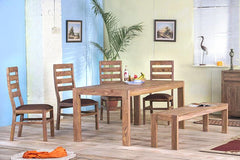 Solid Wood Cubex Dining Set with Bench