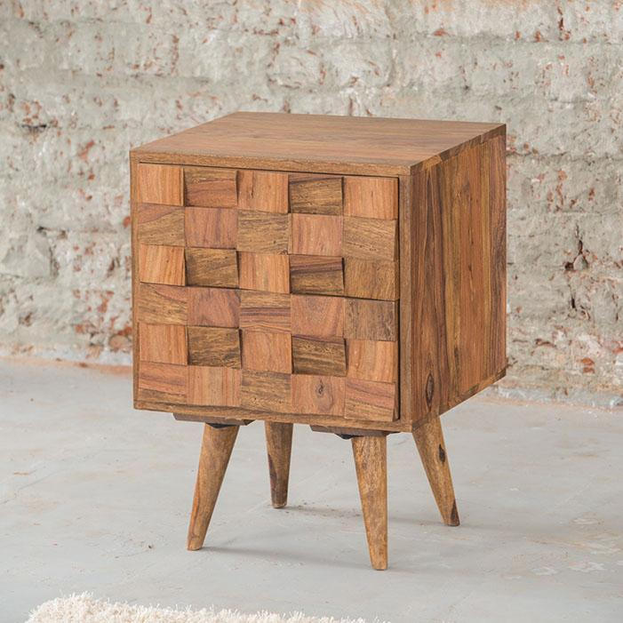 Solid Wood Million Bedside Table with 2 Drawers
