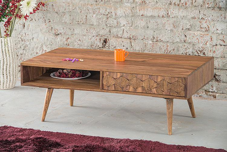 Solid Wood Brew Coffee Table with Drawer