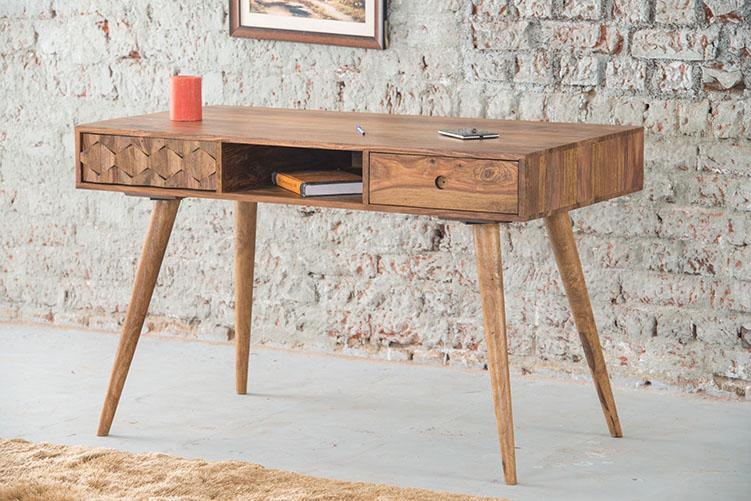 Solid Wood Brew Study Table with 2 Drawers