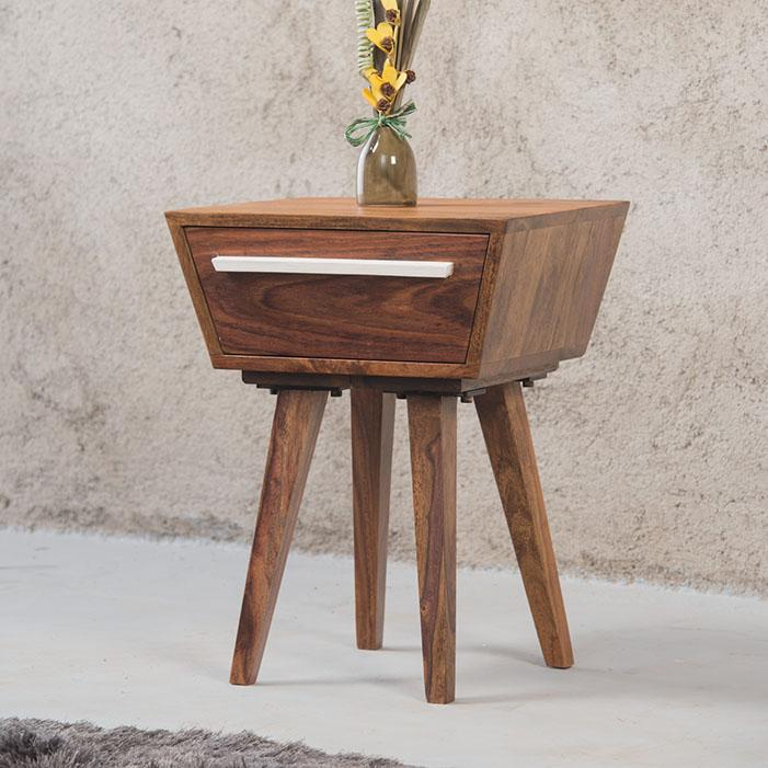 Solid Wood Ellen Bedside Table with Drawer