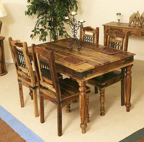 Solid Sheesham Wood Jali Dining Set