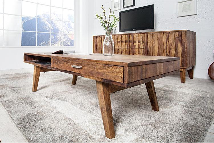 Solid Wood Buck Coffee Table with 2 Drawers
