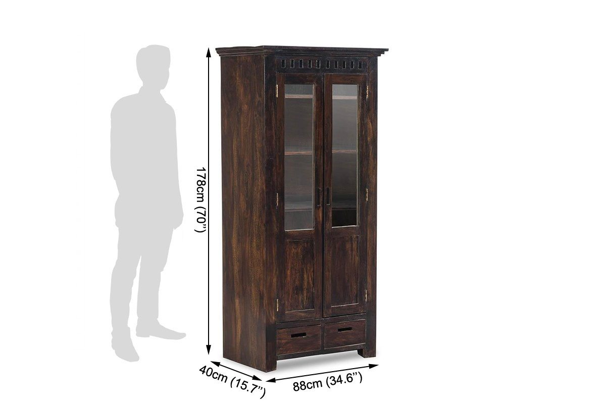 Solid Wood Kuber Bookcase With Glass Doors