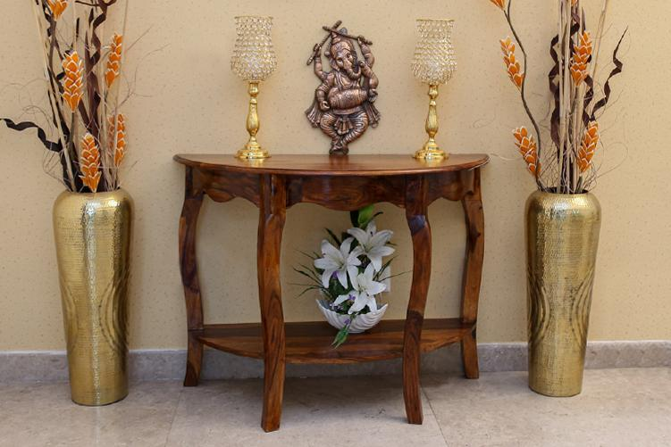 Solid Wood Tania Half Round Console Table