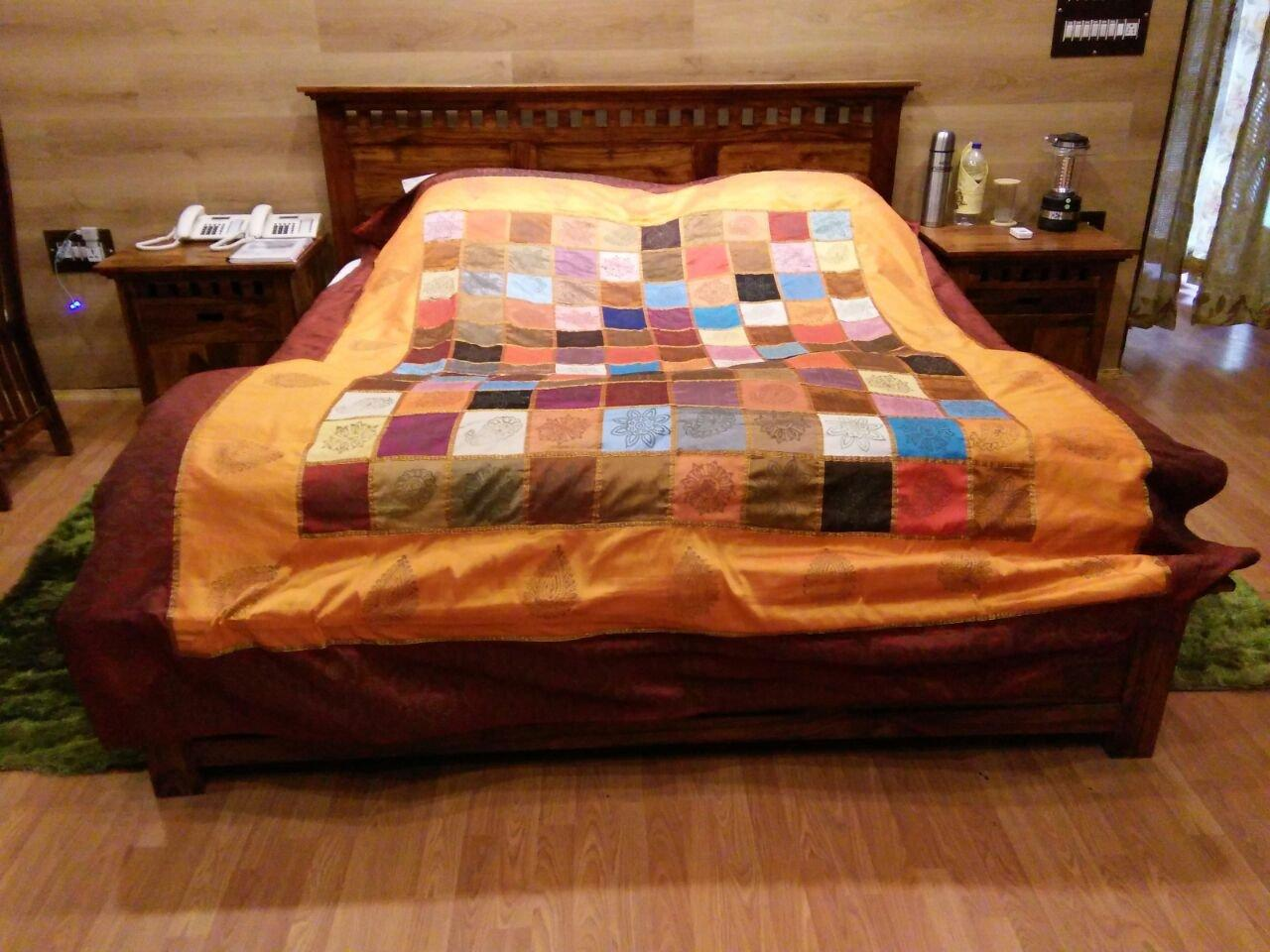 Bed home sheesham wood furnitures bed - Solid Wood Kuber Bed Honey Finish Customer Story