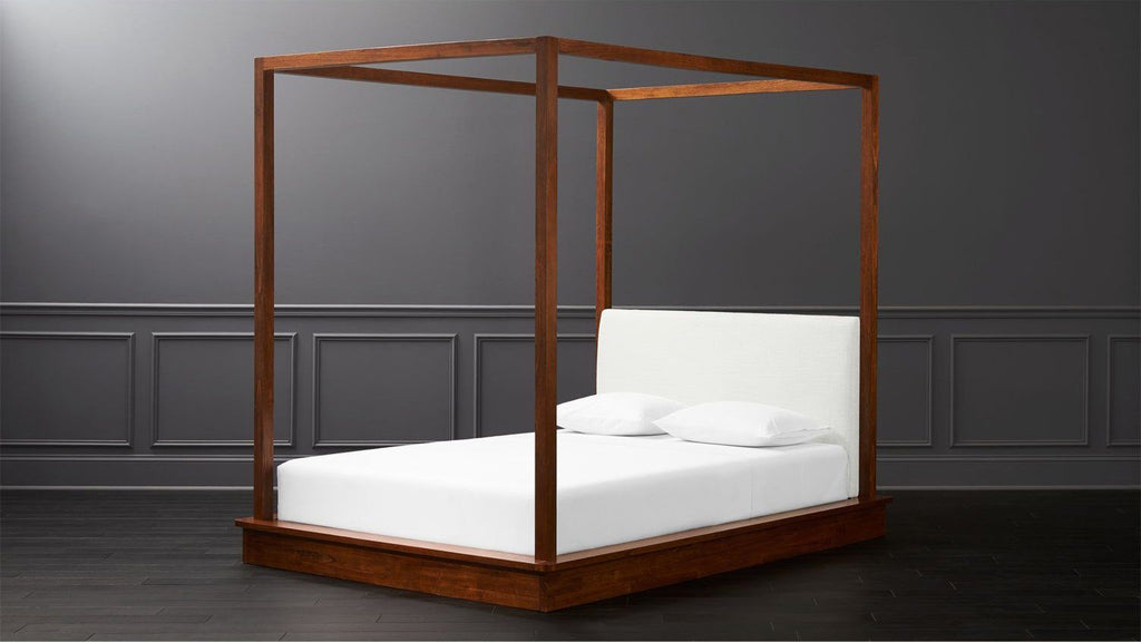 Solid Wood Bolton Poster Bed with Upholstered Headboard