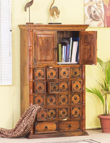 Solid Wood Raj Drawer Chest Bookcase