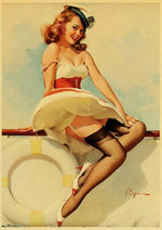 Affiche Vintage<br> Pin Up Bateau - Louise Vintage
