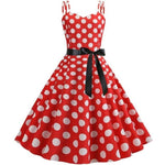 Robe Vintage<br> Rockabilly Rouge Pois Blancs - Louise Vintage