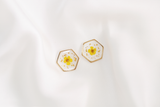Maia Dried Floral Earring Studs (Yellow)