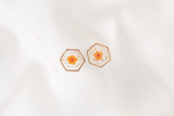 Maia Dried Floral Earring Studs (Orange)