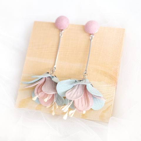 Flower Drop Earrings (Pink) (Backorder)