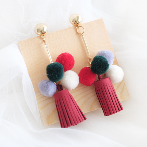 Pom Suede Tassel Earring (Red)