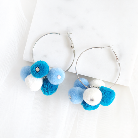 Felt Bubbles Ring Earring (Sky)
