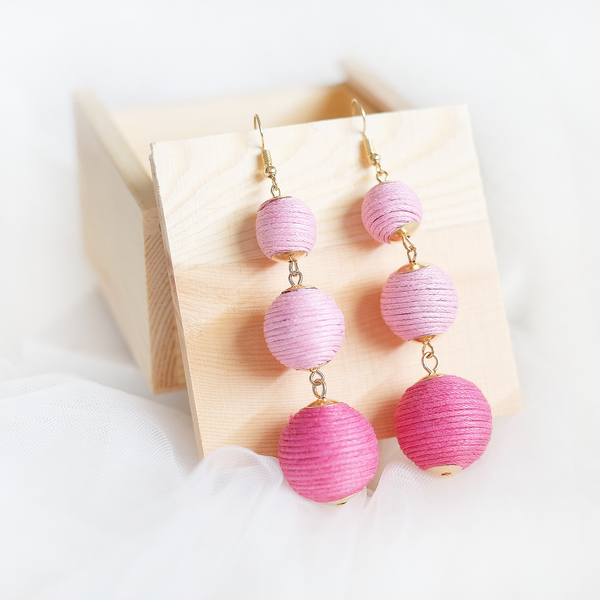 Dangling Bubble Earring (Pink)