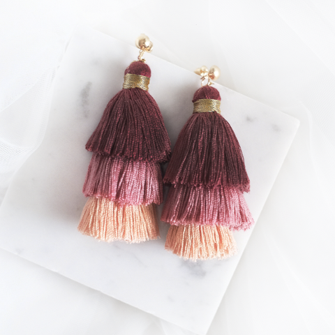 Ombre Tassel Earring (Dusty Pink)