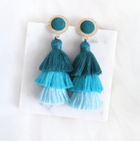 Golden Ombre Tassel Earring (Teal)