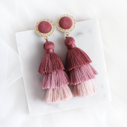 Golden Ombre Tassel Earring (Dusty Pink)