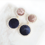 Pearl Halo Velvet Earrings (Navy)