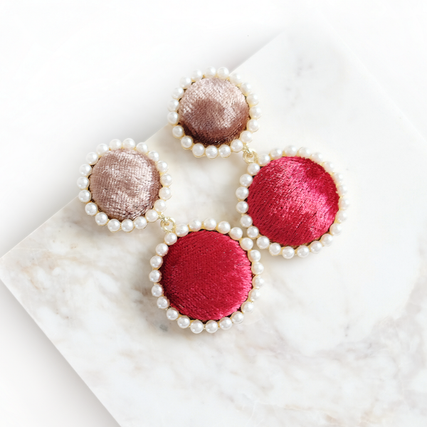 Pearl Halo Velvet Earrings (Red)
