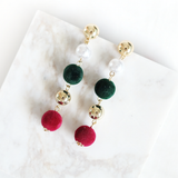 Trio-Colored Dangling Earrings