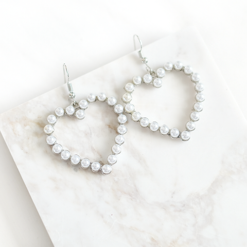 Pearly Heart Earrings
