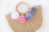 Amie Straw Bag (3 Poms-Customisable) (Pre-order)