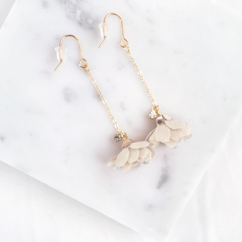 Floral Drop Earrings (Cream Beige)