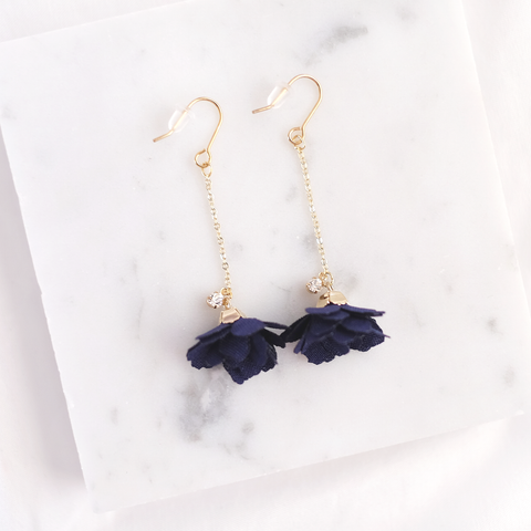 Floral Drop Earrings (Navy Blue)