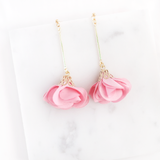 Floral Drop Trio Earrings (Pink)