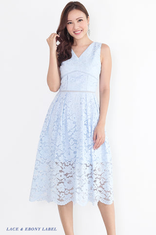 Bellarine Lace Midi Dress (Sky)