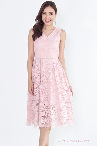 Bellarine Lace Midi Dress (Blush)