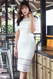 Laurann Crochet Dress (White)