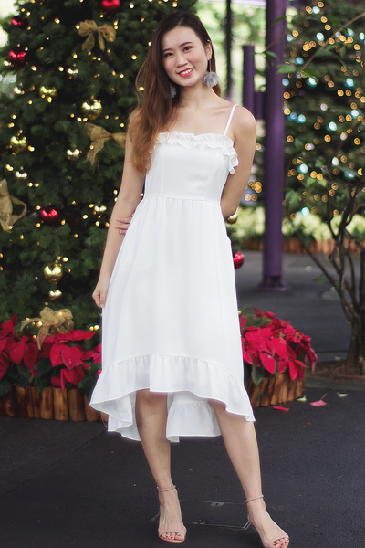 Prixie Frill Dress (White)