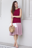 Carolise Colourblock Dress (Wine)