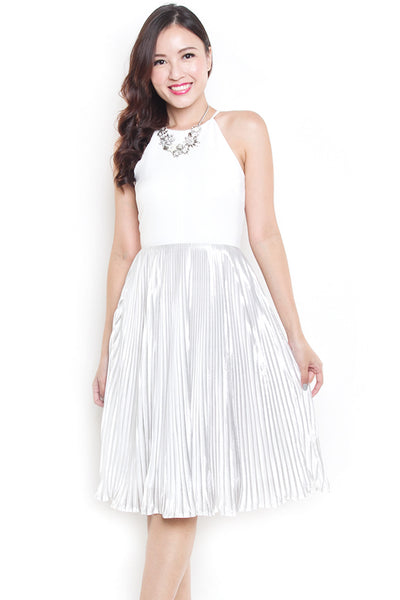 Jocel Tinsel Pleat Midi Dress (White)